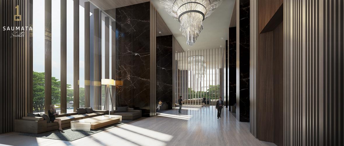 lobby yang sangat mewah dari apartemen saumata suites di alam sutera serpong tangerang dari pada Yukata Suites dan One Velvet