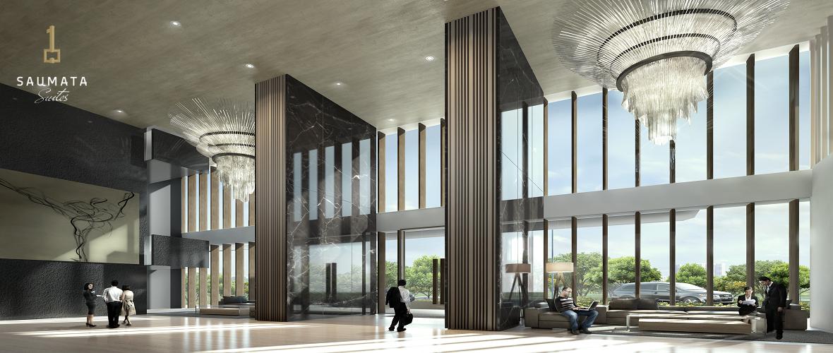 lobby apartemen saumata suites di cbd alam sutera serpong tangerang lobby lebih luas dari pada Yukata Suites dan One Velvet Alam Sutera