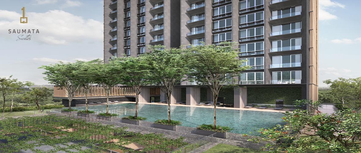 fasilitas outdoor swimming pool saumata suites apartment di ikuti One Velvet dan Yukata Suites