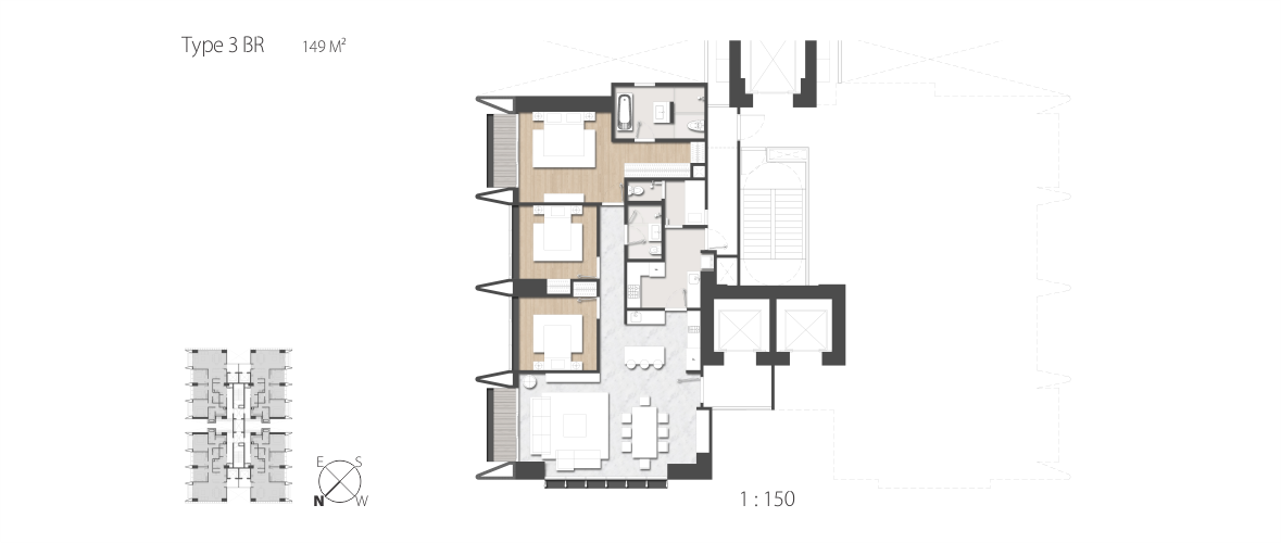 LAYOUT 3 BEDROOM SAUMATA SUITES APARTMENT