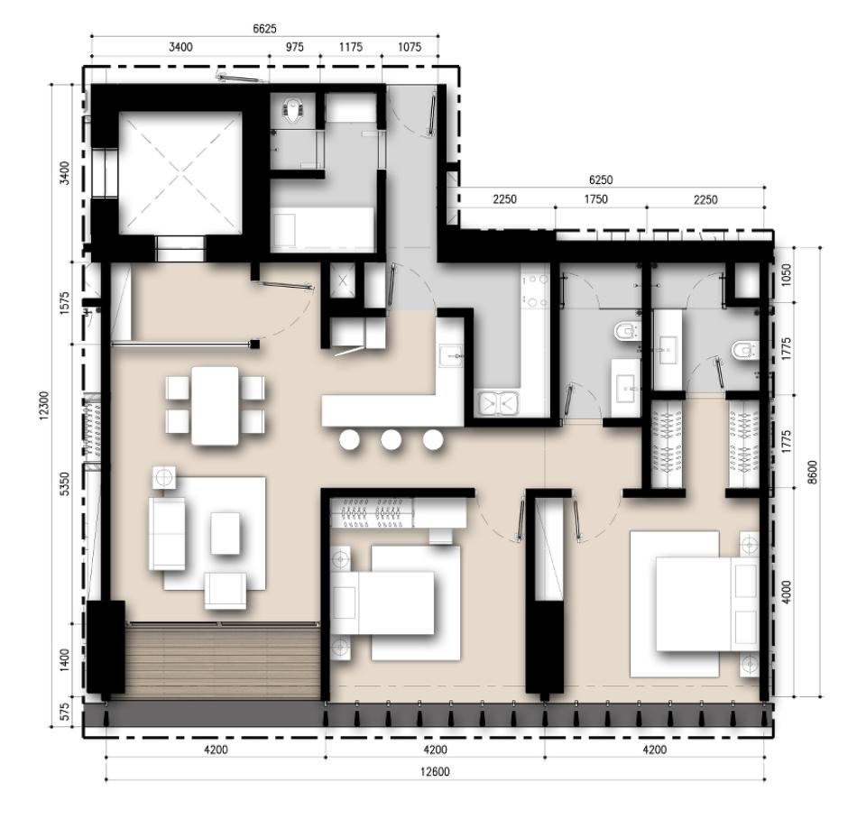 Saumata unit plan 2 bedrooms